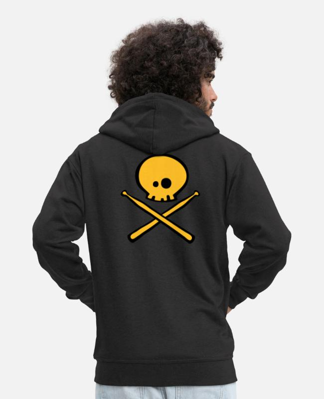 Skull And Crossbones Hoodies & Sweatshirts - Dead Drummer - Men's Premium Zip Hoodie black