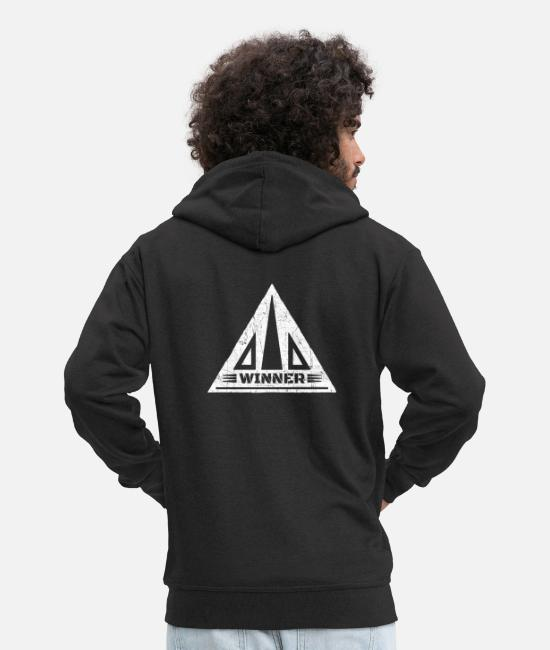 Ace Hoodies & Sweatshirts - Winner successful man winner star master hero - Men's Premium Zip Hoodie black
