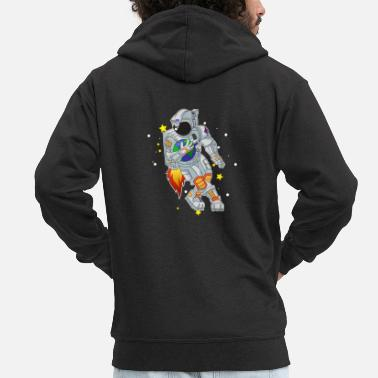 Best Football playing astronaut outer space gift - Men's Premium Zip Hoodie