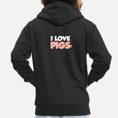 Love I love pigs - Men's Premium Zip Hoodie