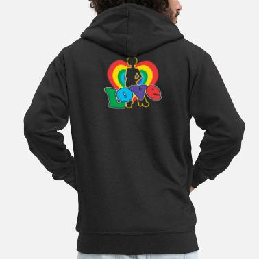 Funk Love | Colorful Heart | Afro Hairstyle | 70's retro - Men's Premium Zip Hoodie