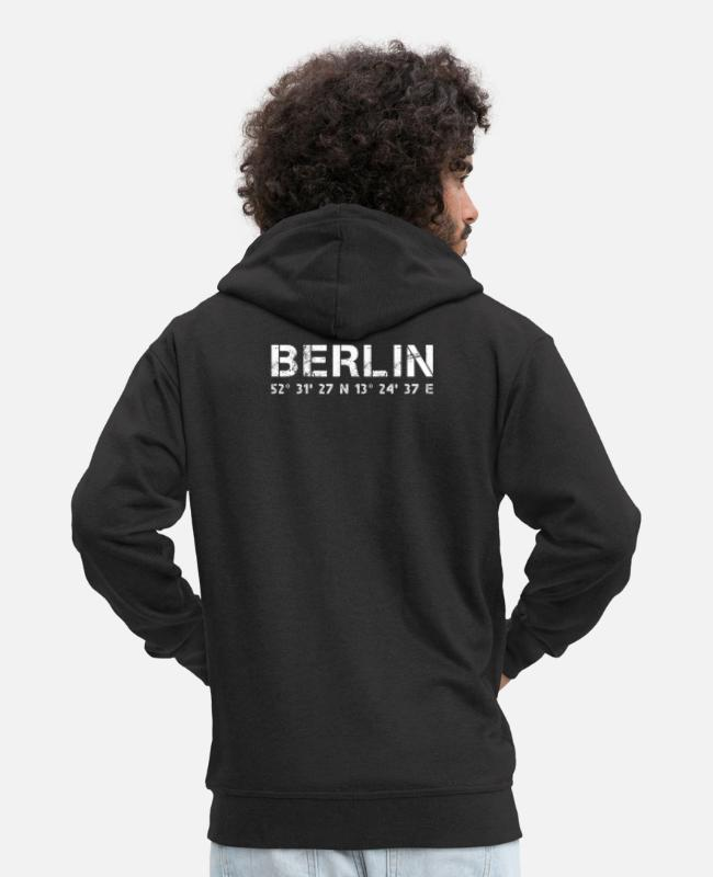 Berlinerin Hoodies & Sweatshirts - Berlin GPS coordinates, capital city gift - Men's Premium Zip Hoodie black
