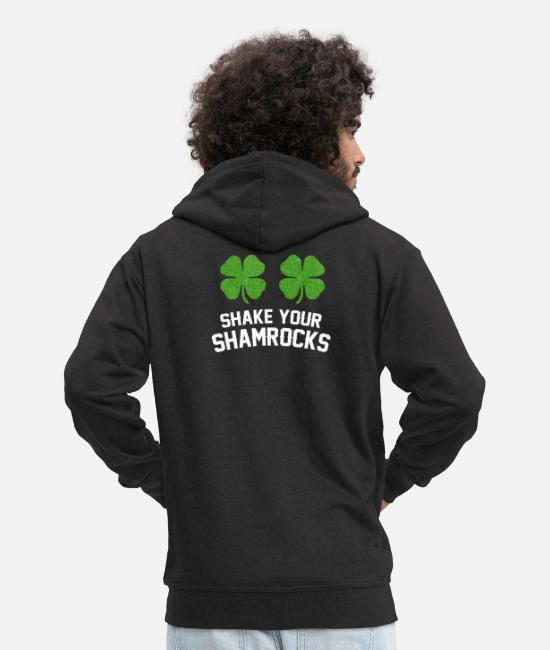 Greenman Hoodies & Sweatshirts - St Patricks Day Ireland Shamrock Irish Pub Beer - Men's Premium Zip Hoodie black