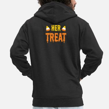 Trait Halloween Her Treat Funny Matching Couple Partie 2 - Veste à capuche premium Homme