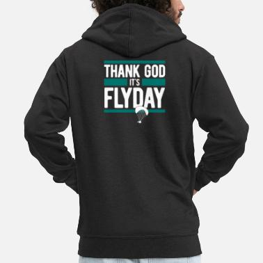 Paragliding, Paragliding - Thank God It's Flyday - Men's Premium Zip Hoodie