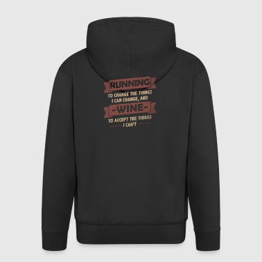 Funny Quotes> Running + Wine - Men's Premium Hooded Jacket