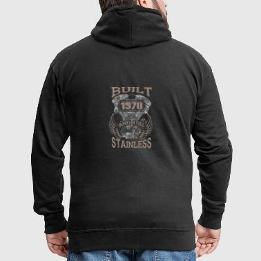 Built and even stainless biker born 1970 - Men's Premium Hooded Jacket
