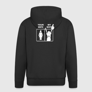 Your Wife My Wife Ice Hockey - Männer Premium Kapuzenjacke