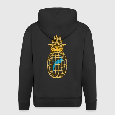 pineapple and bird cage - Men's Premium Hooded Jacket