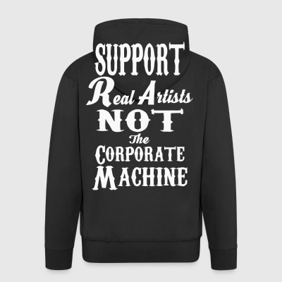 Support real artists not the corporate machine - Men's Premium Hooded Jacket