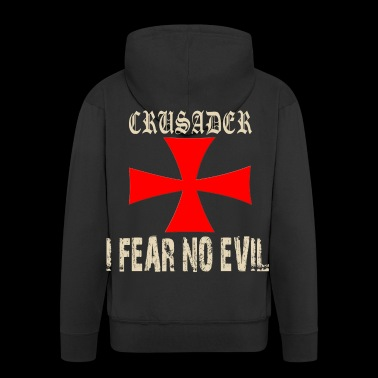 Crusader Knights Templar Cross Motif - Men's Premium Hooded Jacket