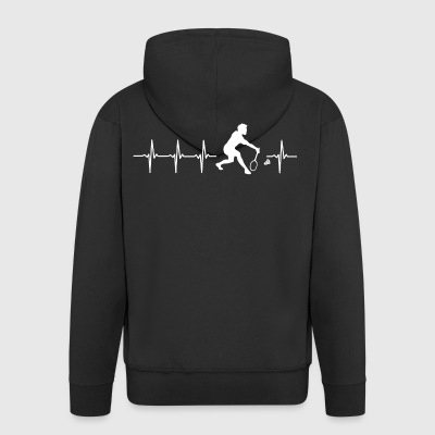 I love Badminton (Badminton heartbeat) - Men's Premium Hooded Jacket
