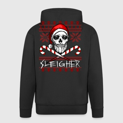 Sleigher Ugly Christmas Sweater - Men's Premium Hooded Jacket