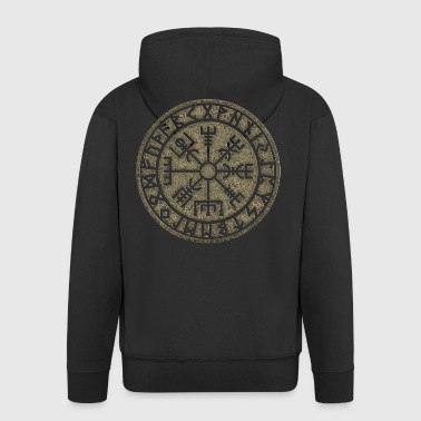 Vegvisir Futhark runes, Viking magic protection icon - Men's Premium Hooded Jacket