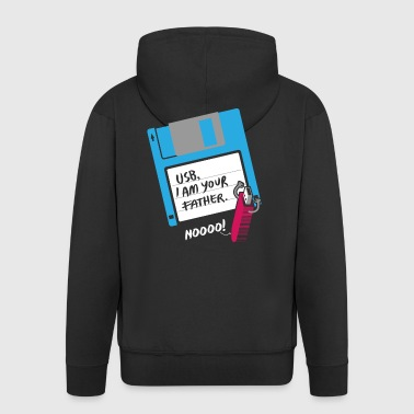 USB, I AM YOUR FATHER - Noooo! Computer floppy disk - Men's Premium Hooded Jacket