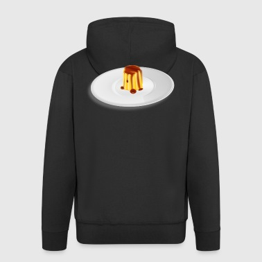 Pudding caramel lies on a plate. - Men's Premium Hooded Jacket