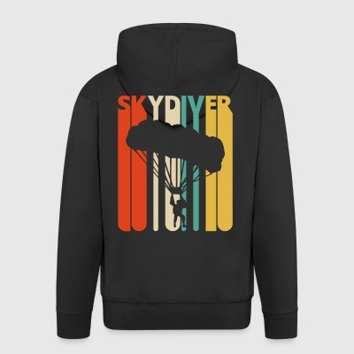 Vintage Retro Skydiver Gift. Skydiving. Parachute. - Men's Premium Hooded Jacket