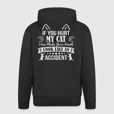 If you Hurt My Cat - cat - Men's Premium Hooded Jacket