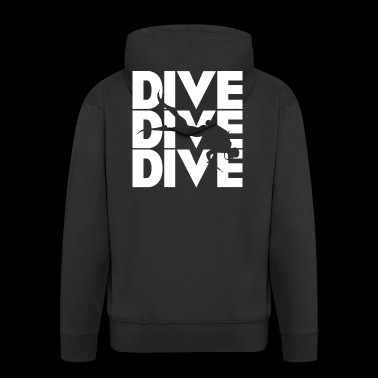 dive diver dive white gift idea - Men's Premium Hooded Jacket