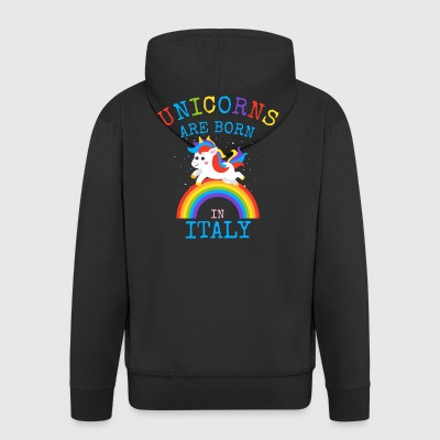 Unicorns are born in Italy.Funny Unicorn Kids Gift - Men's Premium Hooded Jacket