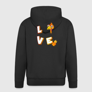 Love turkey thanksgiving autumn food tradition lo - Men's Premium Hooded Jacket