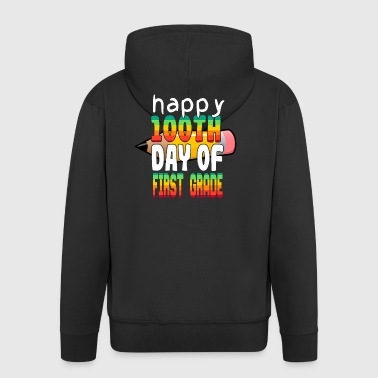 Happy 100th day of first grade - gift - Men's Premium Hooded Jacket