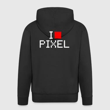 i love pixel - Men's Premium Hooded Jacket