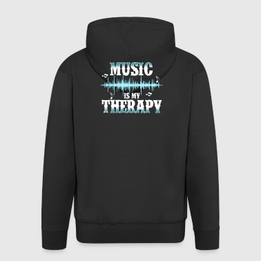 music is my therapy - Men's Premium Hooded Jacket
