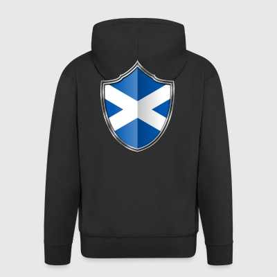 Scotland Flag Coat of Arms Silver 015 - Men's Premium Hooded Jacket