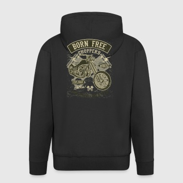 Born Free Choppers. Retro Motorcycle & Chopper Shirt - Men's Premium Hooded Jacket