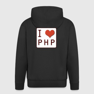 I LOVE PHP - Men's Premium Hooded Jacket