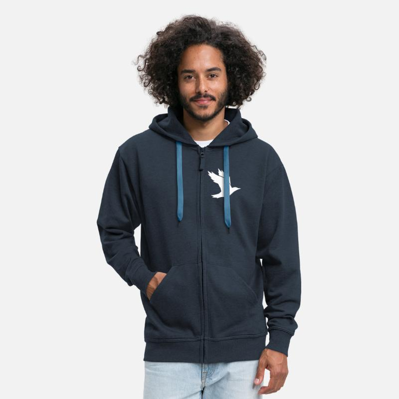 Air Hoodies & Sweatshirts - Bird Silhouette - Men's Premium Zip Hoodie navy