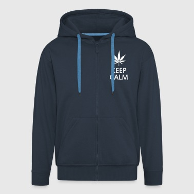 keep calm and smoke cannabis weed pot - Felpa con zip Premium da uomo