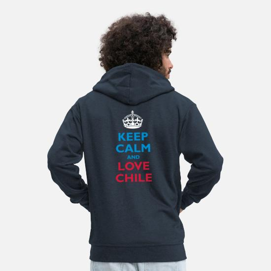 Gagnant Sweat-shirts - Keep Calm & Love Chile - Veste à capuche premium Homme marine