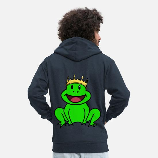 Grenouille Sweat-shirts - Grenouille Royal Crown King Fairy Tale Enfants Bébés Animaux - Veste à capuche premium Homme marine