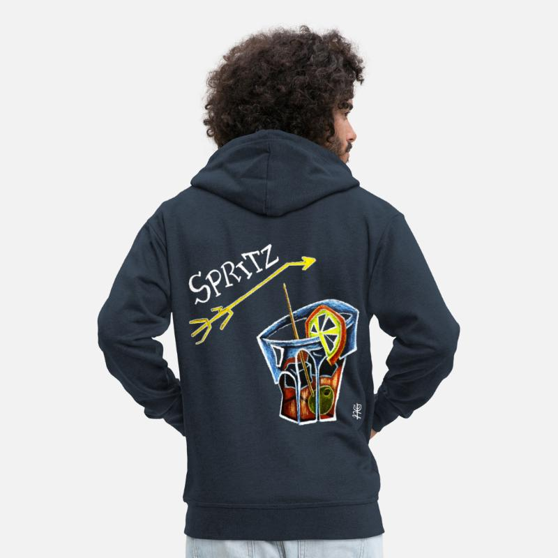 Bitter Hoodies & Sweatshirts - Spritz Aperol Party T-shirts Venice Italy - Energy Drink - Men's Premium Zip Hoodie navy