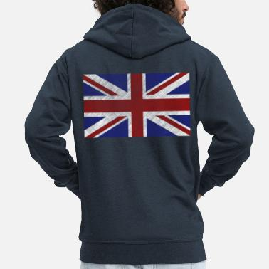Union Jack Grunge Union Jack Flag - Men's Premium Hooded Jacket
