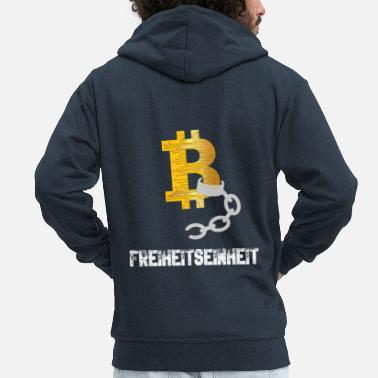 Money Bitcoin BTC - freedom unit - Men's Premium Hooded Jacket
