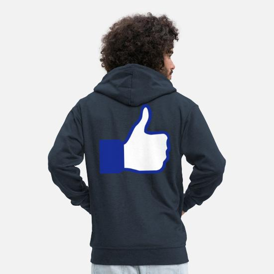 Symbol  Hoodies & Sweatshirts - social network button - Men's Premium Zip Hoodie navy