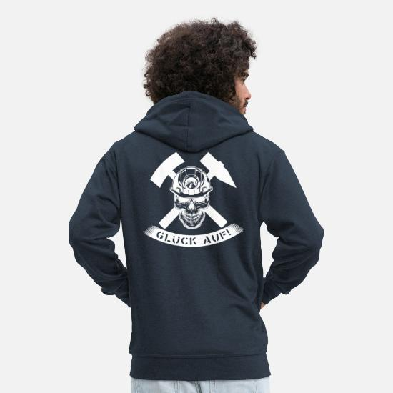 Ruhr Area Hoodies & Sweatshirts - Luck on logo - Men's Premium Zip Hoodie navy