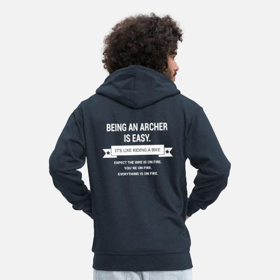 Ziel Hoodies & Sweatshirts - BEING A ARCHER - Men's Premium Zip Hoodie navy