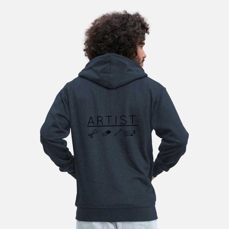 Artist Hoodies & Sweatshirts - Artist / artist at work - Men's Premium Zip Hoodie navy