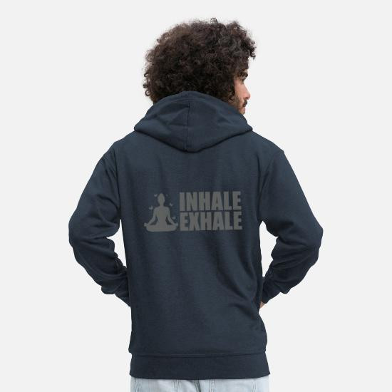 Yogi Hoodies & Sweatshirts - Yoga inhale exhale butterfly meditation - Men's Premium Zip Hoodie navy