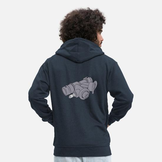 Jellyfish Hoodies & Sweatshirts - Scuba Diving BC Power Inflator Ocean Diver Gift - Men's Premium Zip Hoodie navy