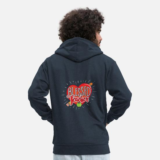 College Hoodies & Sweatshirts - Blessed Teacher Appreciation - Men's Premium Zip Hoodie navy