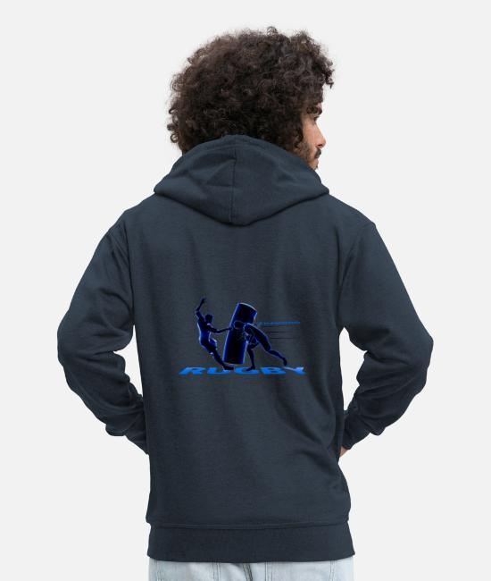 Stadium Hoodies & Sweatshirts - RUGBY TRAINING - Men's Premium Zip Hoodie navy