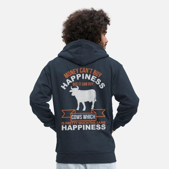 Cow Hoodies & Sweatshirts - Cow with funny saying - Men's Premium Zip Hoodie navy