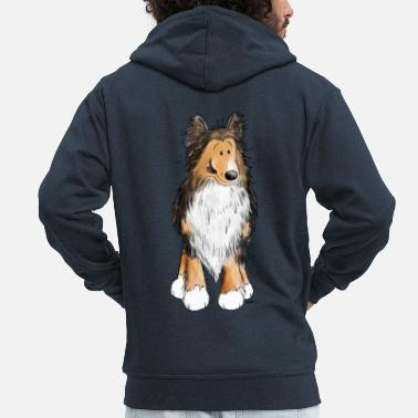 Cani Little Sheltie I Shelties I Dogs Comic - Felpa con zip premium uomo
