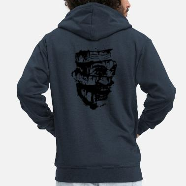 Horror Film Scary Head Zombie black - Men's Premium Hooded Jacket