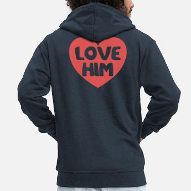 Heart Attack Heart love he little heart gift - Men's Premium Zip Hoodie